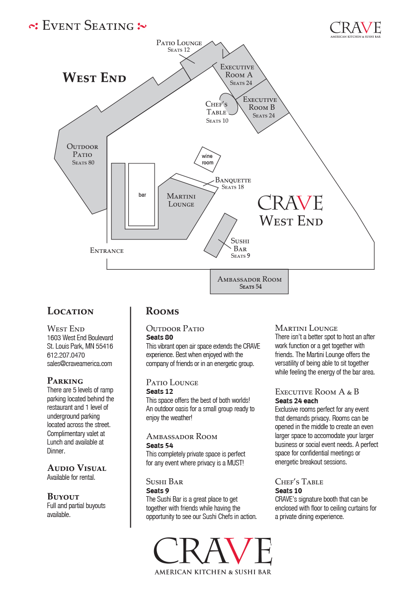 CRAVE - Shops at West End - Kaskaid Event Group